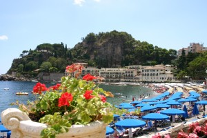 on the beach in Taormina town is beautiful place in Sicily